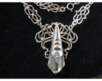 Sterling silver necklace, Modernist Jewelry, 1950s 50s, Brutalist, Hand made, Quartz, vintage jewelry, artisan studio mid century  LA eb