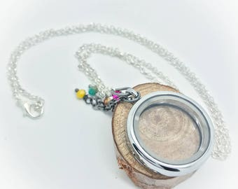 30mm Floating Locket - Silver rollo chain with beaded bangles