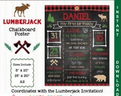 Lumberjack Printable Chalkboard Sign | 1st 2nd 3rd Birthday | Personalized Poster | Instant Download & Edit in Adobe Reader | Rubber Duck