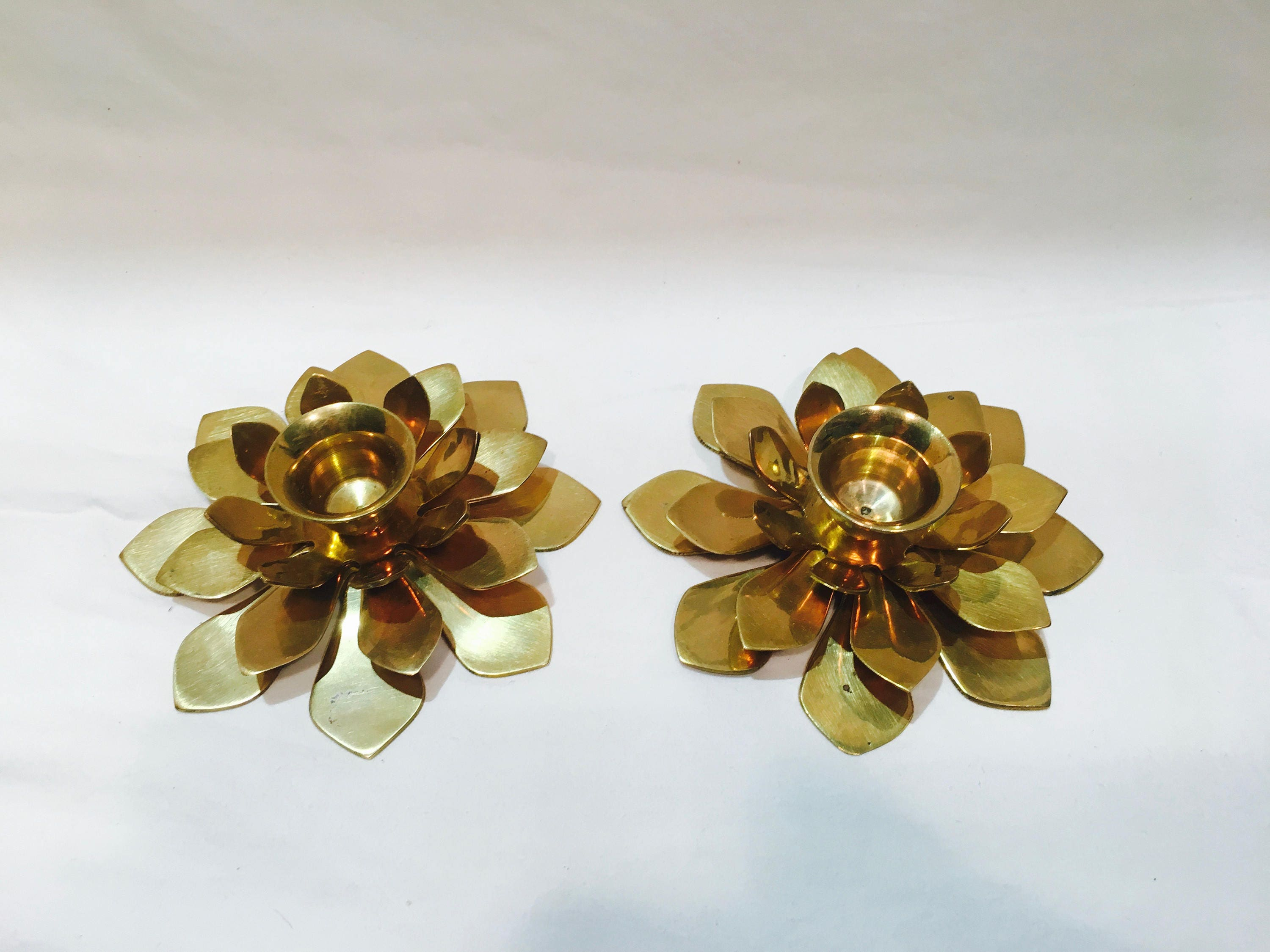 Pair Of Brass Flower Candlesticks Brass Lotus Candlesticks Modern