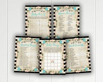 Alice in Wonderland Printable Baby Shower Games - Bingo - Word Scramble - Who Knows Mommy Best - What's In Your Purse - Vintage Tea Party