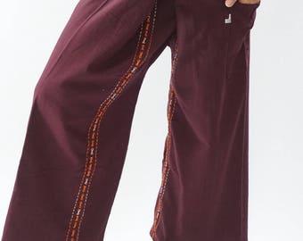 F80064 Hand stitch Unisex Thai fisherman pants, stitch Inseam design for Thai Fisherman Pants Wide Leg pants, Wrap pants