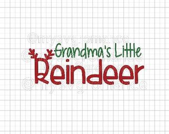 Grandma's Little Reindeer SVG - Reindeer Antlers - Rudolph Nose - Cutting File - Cute Font - Cricut - Cameo
