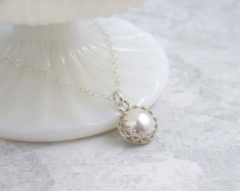 June Birthday ~ Solitaire Pearl Necklace ~ Silver ~ White Pearl Necklace ~ Crown Bezel ~ Gift for Her ~ Bridesmaid Gift ~ Simple Modern