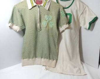 1950s Vintage Clothing Sports' Jerseys from Knoxville Catholic High School by Rawlings for Ladies, Size 34 & 38, Green, Yellow, Irish Clover