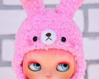 SD/Pullip/Blythe: Fluffy bunny knitted hat [pink]