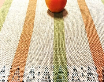 Douglas Fir Tree Pattern Table Runner, hand woven, one of a kind