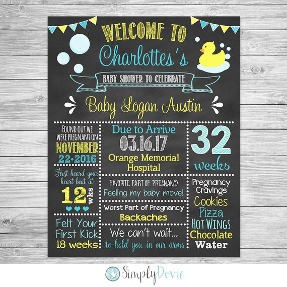 Rubber Duckie Baby Shower Chalkboard Printable Sign