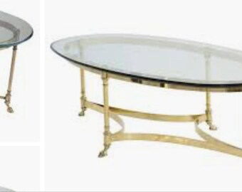 2 OVAL TABLES Both Beveled Tops Dining Is 52x25 Brass Rams Feet Hoof Hooves  Labarge Jensen