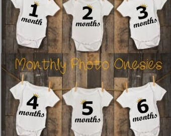 12 LITTLE PRINCE Monthly Personalized Photo Bodysuit Baby Shower Set - Black numbers and Gold Crown