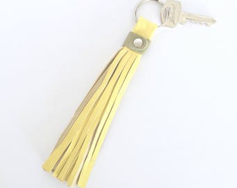 Freya Leather Tassel Key Ring:  yellow sheep nappa with olive green bovine leather