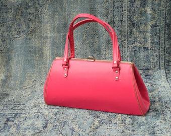 Hot Pink Vintage Purse - Pink handbag - bright pink hand bag