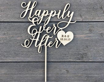 """Personalized Happily Ever After Initials & Date Cake Topper with Heart 6"""" inches wide, Wedding Cake Topper, Fairytale Cake Topper, Custom"""