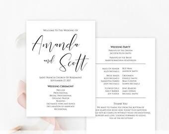 Simple program etsy printable wedding program template instant download simple wedding program minimalist wedding program pronofoot35fo Gallery