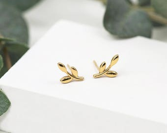 Gold Olive Branch Earrings • Gold Branch Studs • Leaf Earrings • Dainty Gold Studs • Branch Stud Earrings • Leaf Jewellery • Tiny Gold Studs