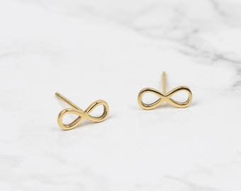 Gold Infinity Earrings • Gold Infinity Studs • Dainty Gold Studs • Infinity Stud Earrings • Infinity Jewellery • Tiny Gold Studs