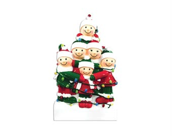 FREE SHIPPING 6 Family Tangled in Lights Family / Personalized Christmas Ornament / Large Family / Big Family / Grandchildren / Friends