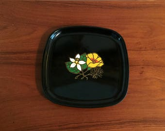 Vintage Couroc of Monterey Floral Design Plate for Western Airlines 1970s Plastic Resin Snack Plate with Wood and Brass Inlay