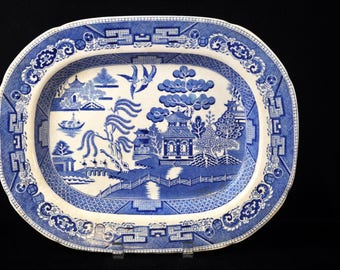 Wedgwood, Blue Willow platter, We have more platters, Vintage platter,England, Fabulous Blue and White pottery, #1949