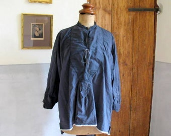 Antique French cotton shirt, dyed inky blue, great condition, 49 euro, patched, darned