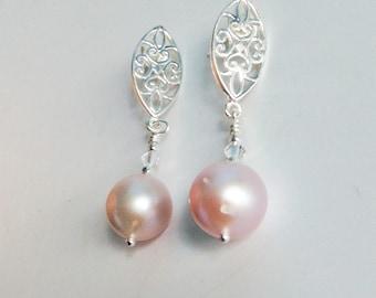 "Fresh Water Pearl earrings, Bridal earrings, wedding jewelry, Sterling earrings, Swarovski crystal, dangle pearl earrings -""Pearl Drops"""