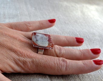 Inspirational big ring, Adjustable red cocktail ring, Recycled glass word jewelry,  Unusual gift for her