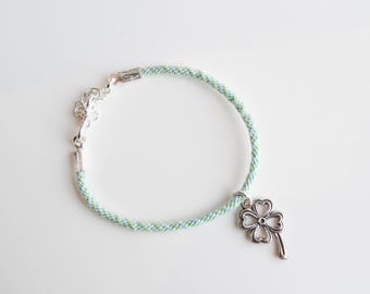 Kumihimo Four Leaf Clover Good Luck Charm Bracelet