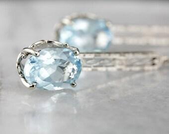 Bridal Blue Topaz Drop Earrings, White Gold Filigree Earrings, Something Blue PWP9W1-D