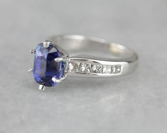 High Quality Sapphire Engagement Ring, Sapphire Anniversary, Sapphire and Diamond X5K2JL-R