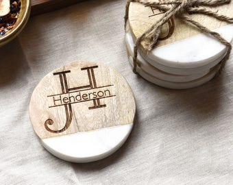 Personalized Monogram Coasters - Wood and Marble Drink Coasters - Personalized Kitchen - Gift for Her - Coaster Set (Set of 4)
