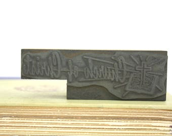 "Religious Printing Letterpress ""Church of Christ"" Printers Block Printers Cut"
