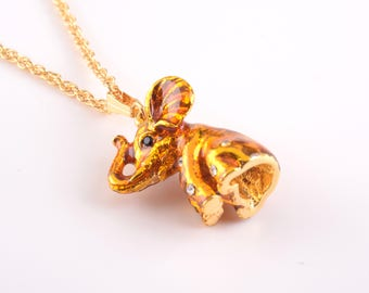 Gold Elephant Pendant Necklace Faberge Styled Handmade by Keren Kopal Enamel Painted Decorated with Swarovski Crystals
