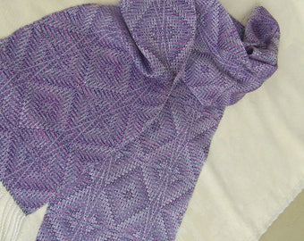 REVERSIBLE Hand-dyed Silk Handwoven Scarf Dressy OOAK