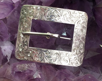 Vintage Art Nouveau Sterling Silver Etched Floral Filagree Belt Buckle Brooch Pin