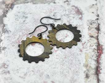 Abstract Paint Gear Earrings Set 4, OOAK Black and Gold Handmade Earrings Unique Steampunk Jewelry Gift for her