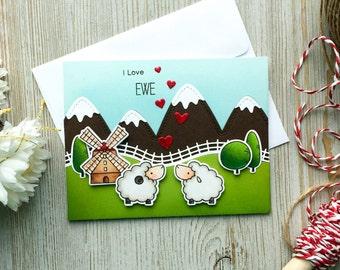 Handmade Love Card, Valentines Day Card, Anniversary Card, Engagement Card, Wedding Card, Happy Anniversary, I Love You, Love Card, Custom