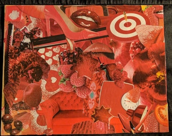 "original handmade collage ""Crimson"""