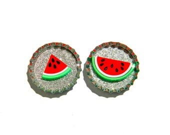 NEW Watermelon Bottle Cap Magnets