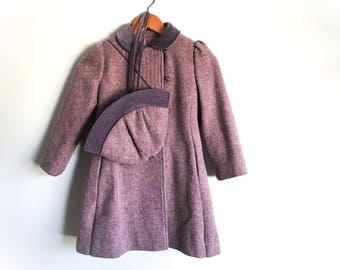 Girl's Vintage Winter Coat Rothschild Dusty Purple Mauve Wool Coat Velvet Children's Victorian WWII 1940's Style Coat and Hat Set Size 6X