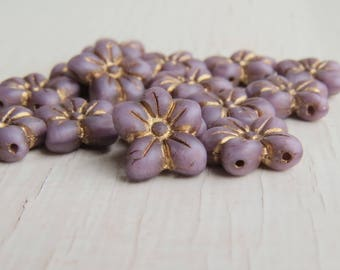 Matte Soft Lilac 2-hole Puffed Daisies - 13x14mm 2-hole soft lilac purple flower beads with bronze picasso finish (6), uk czech glass
