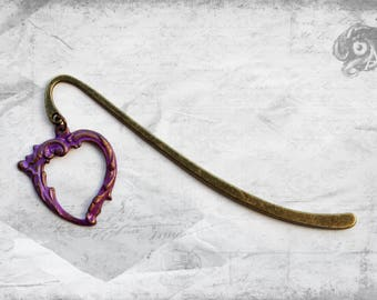 Gothic Rococo loveheart bookmark with hand-painted purple brass heart // Baroque Reading Lover Literary gift // Mother wife girlfriend wife