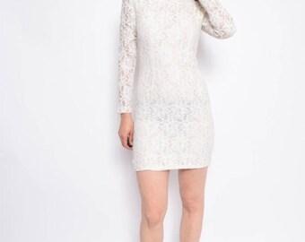 Vintage 90's White Lace Mini Dress - Size Extra Small