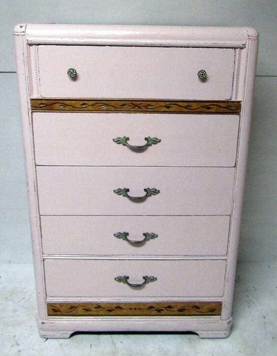 Tall pink Dresser art deco waterfall style