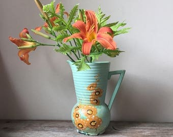 Vintage Brentleigh Ware Jug Vase | Art Deco Pottery Vase | Brentleigh Ware Deal Design | Ceramic Pitcher Vase Made in England | Hollyhock
