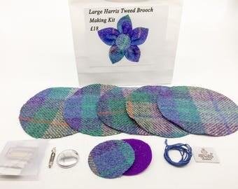 Large Purple and Green check Harris tweed brooch making kit