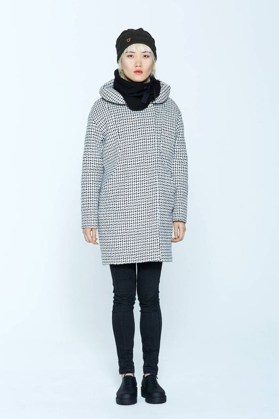 NORVÈGE - print & wool winter coat with hood for womens - white tweed