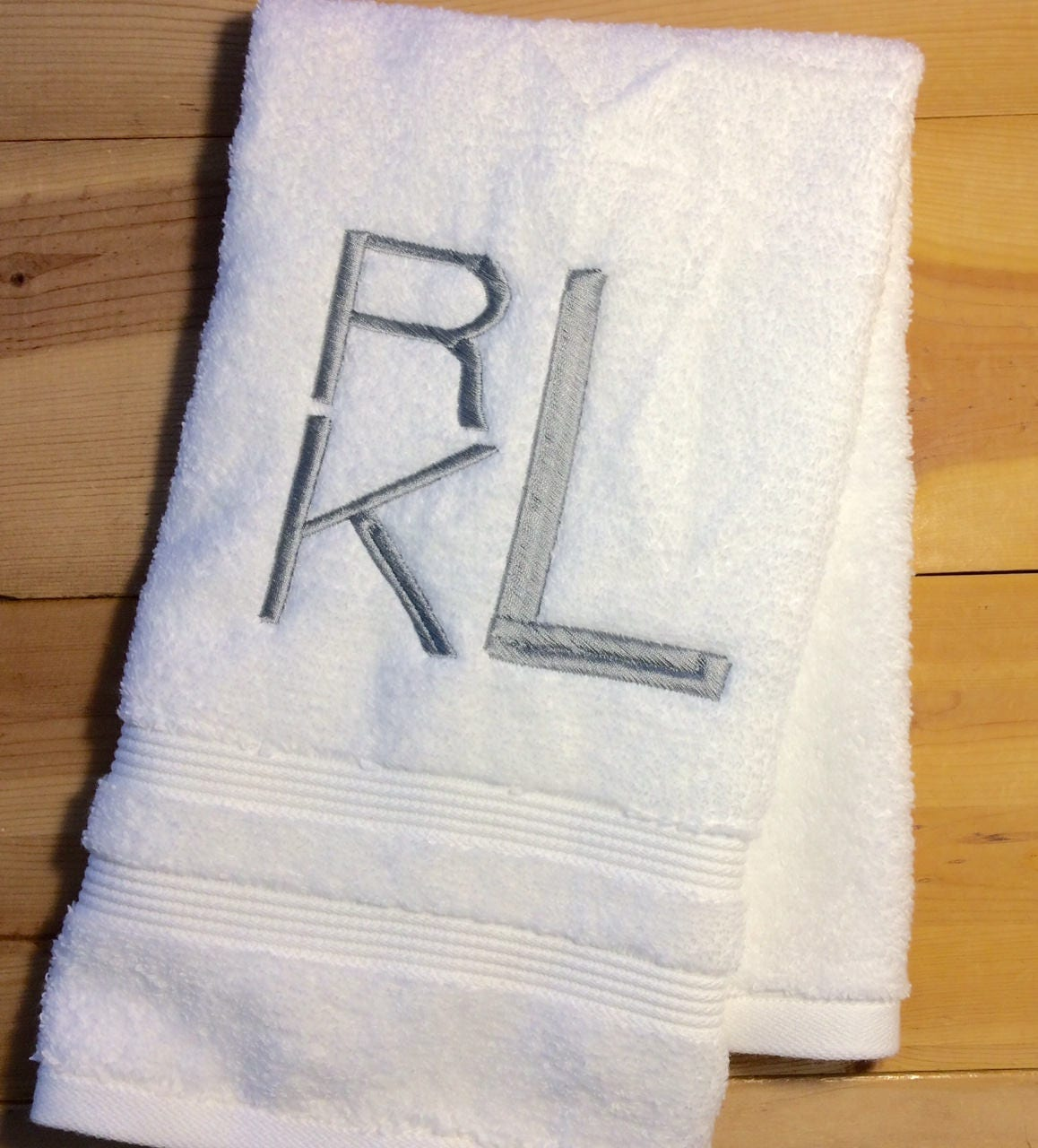 Monogram bathroom towels - Triple Initial Monogrammed Towels Contemporary Monogram Hand Towels Personalized Bath Towels Embroidered Towel Choose Your Colors