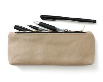 Canvas Pencil Case Zipper Pencil Pouch Beige