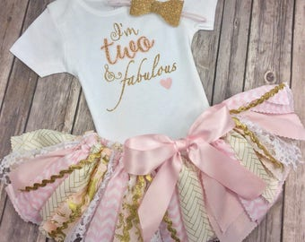 Pink and Gold Glitter 3 Piece Birthday Outfit Including Onesie / Shirt with I'm Two and Fabulous, Fabric Tutu and Headband, Two Year Old