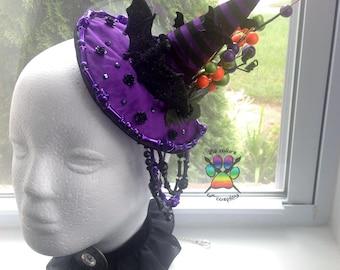 Sale Black and Purple Mini Witch Hat Headband Cosplay Costume Accessory Halloween Dress Up Collar Set